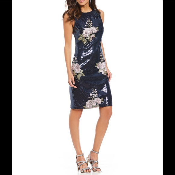 5af3c651545 Vince camuto sequin floral embroidery sheath dress